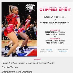 clippers dance clinic